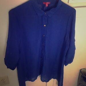 Blue button up blouse